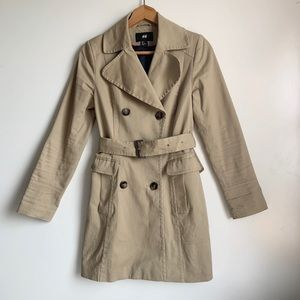 H&M double breast tan long trench coat